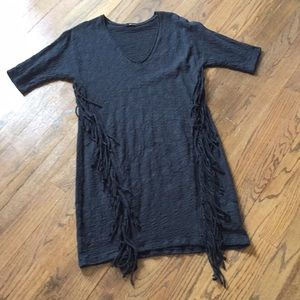 Cute cotton dress/ cover up with fringe